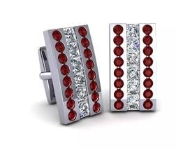 925 Sterling Silver Genuine Garnet And Cz Gemstone Artistic Design Handcrafted M image 1