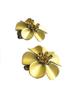 Vintage Pretty Yellow Enamel Orange Rhinestone Flower Clip On Earrings, ... - $25.00