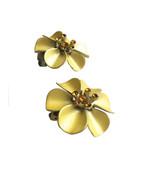 Vintage Pretty Yellow Enamel Orange Rhinestone Flower Clip On Earrings, ... - $25.00
