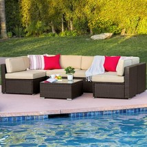 7pc Outdoor Patio Garden Furniture Wicker Rattan Sofa Set Sectional Brown - $1,499.99