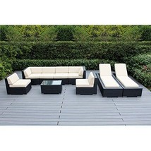 Patio Conversation and Lounge Set Outdoor Wicker Furniture Cushioned 9PC... - $2,902.47