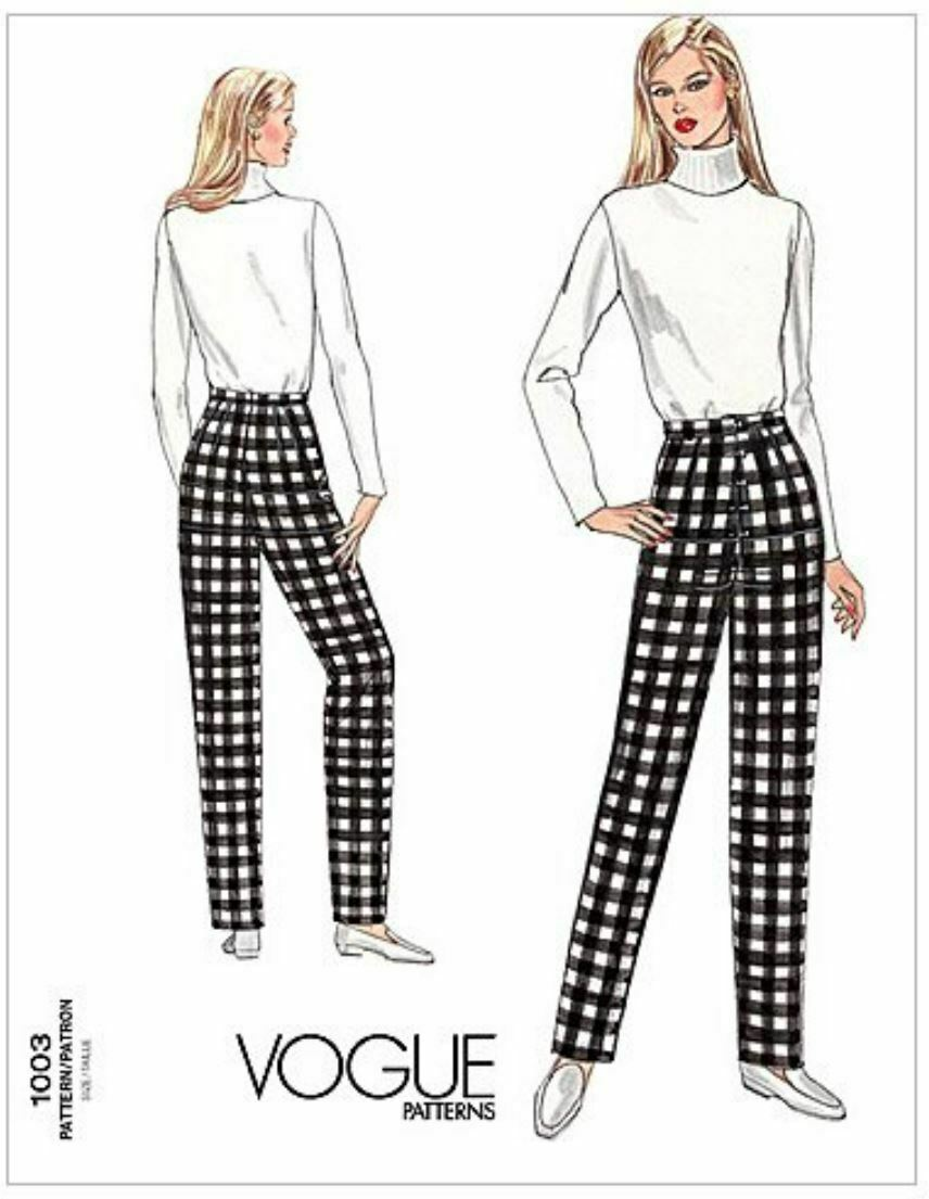 Vogue Sewing Pattern V1003 Misses Semi Fitted Tapered Pants Fitting Shell - $11.89