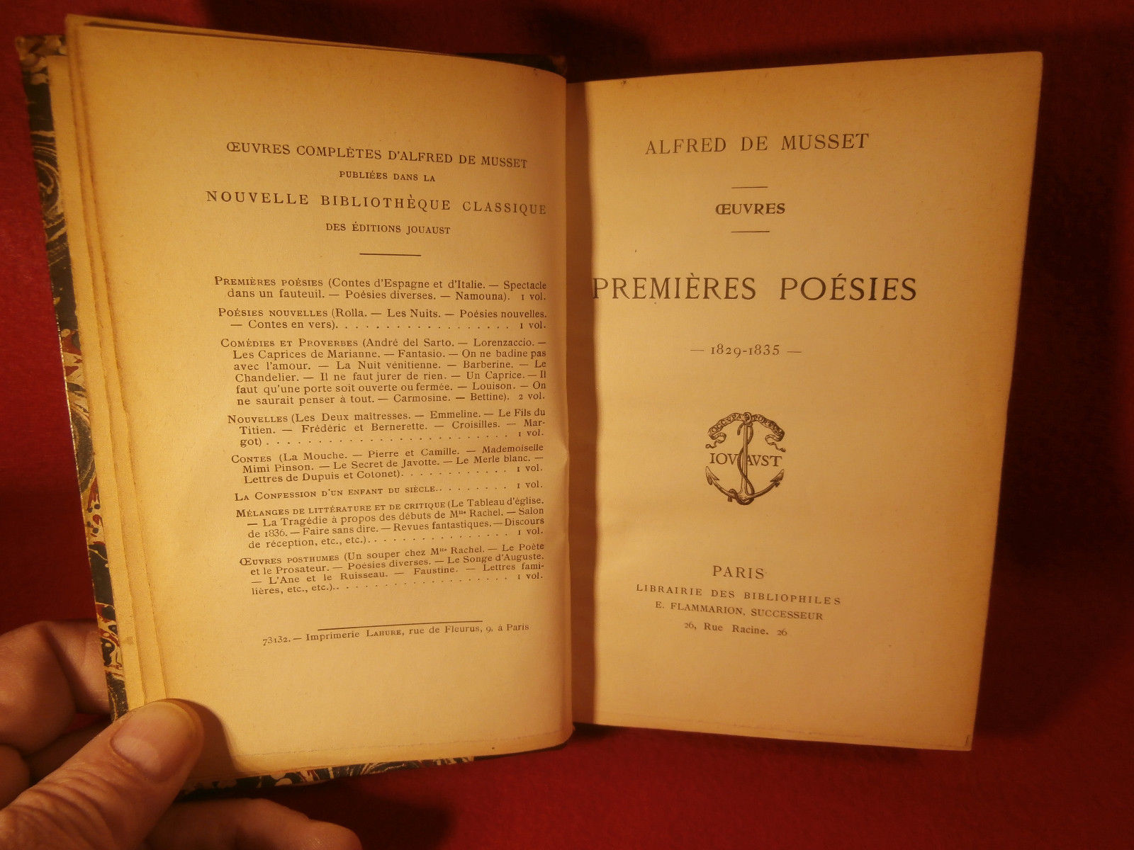 Alfred De Musset Premieres Poesies 1829-1835 Leather Bound Very Nice