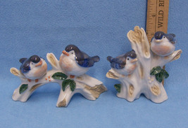 Pair Set 2 Vintage Ceramic Blue Bird Figurines Takakashi Japan Tree - $19.79