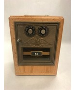 Vintage UPSP lock box coin bank tested Brass tag wood Mail box Post office - $56.37