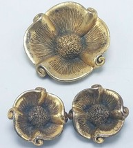 Vtg Tortolani Matching Clip-on Earrings & Brooch Pin Gold Tone Flower Bl... - $21.95