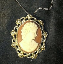 Cameo Necklace and/or Pin AB 123 Exquisite Vintage image 1