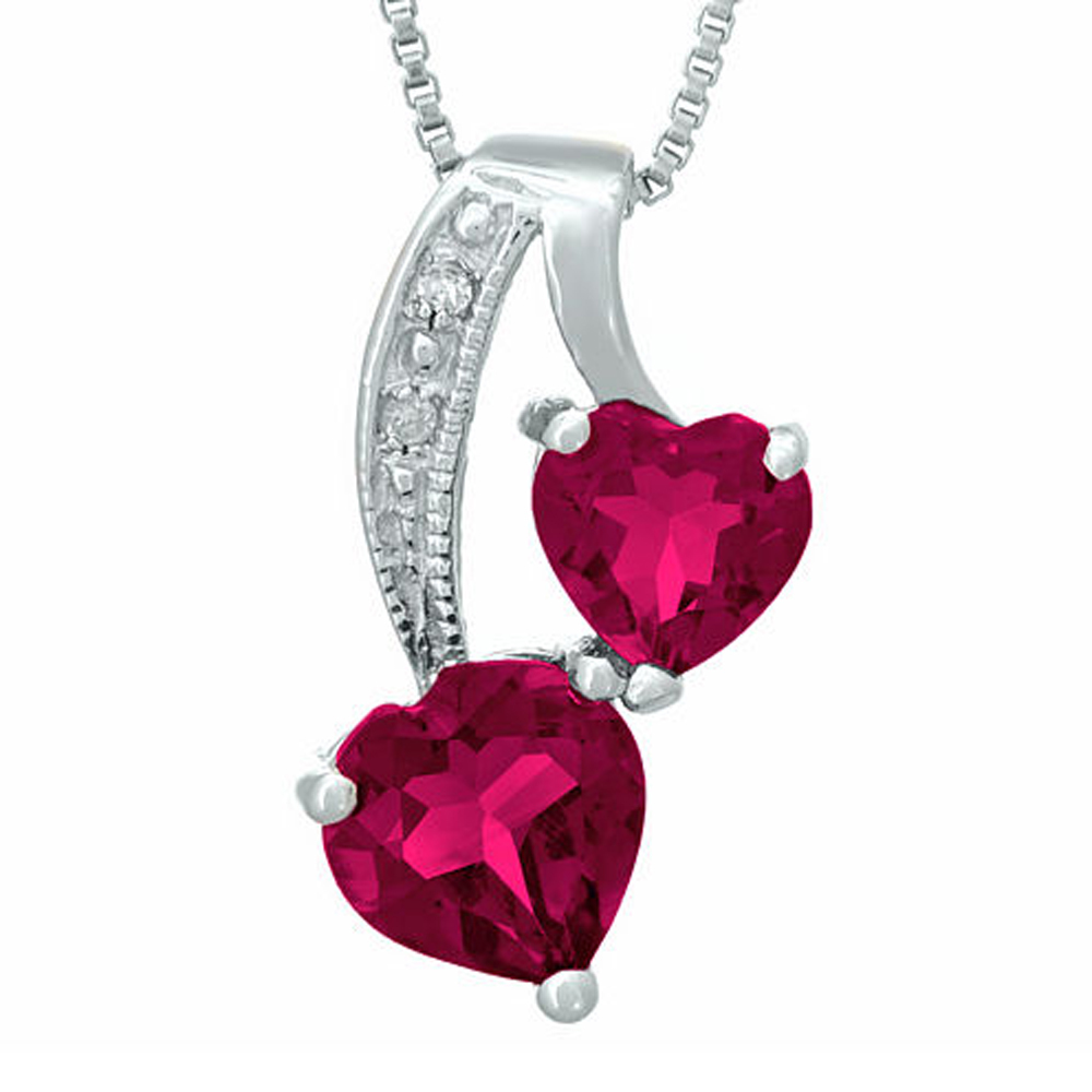 "Primary image for Ruby and Sim.Diamond 14K White Gold Fn Double-Heart Pendant 18"" Necklace"