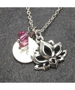 Personalized Lotus Necklace Custom Initial Birthstone Crystal from Swaro... - $22.49
