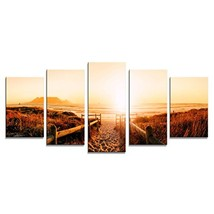 Wieco Art Sunrise Canvas Prints Wall Art Ocean Sea Beach Pictures Painti... - $38.42