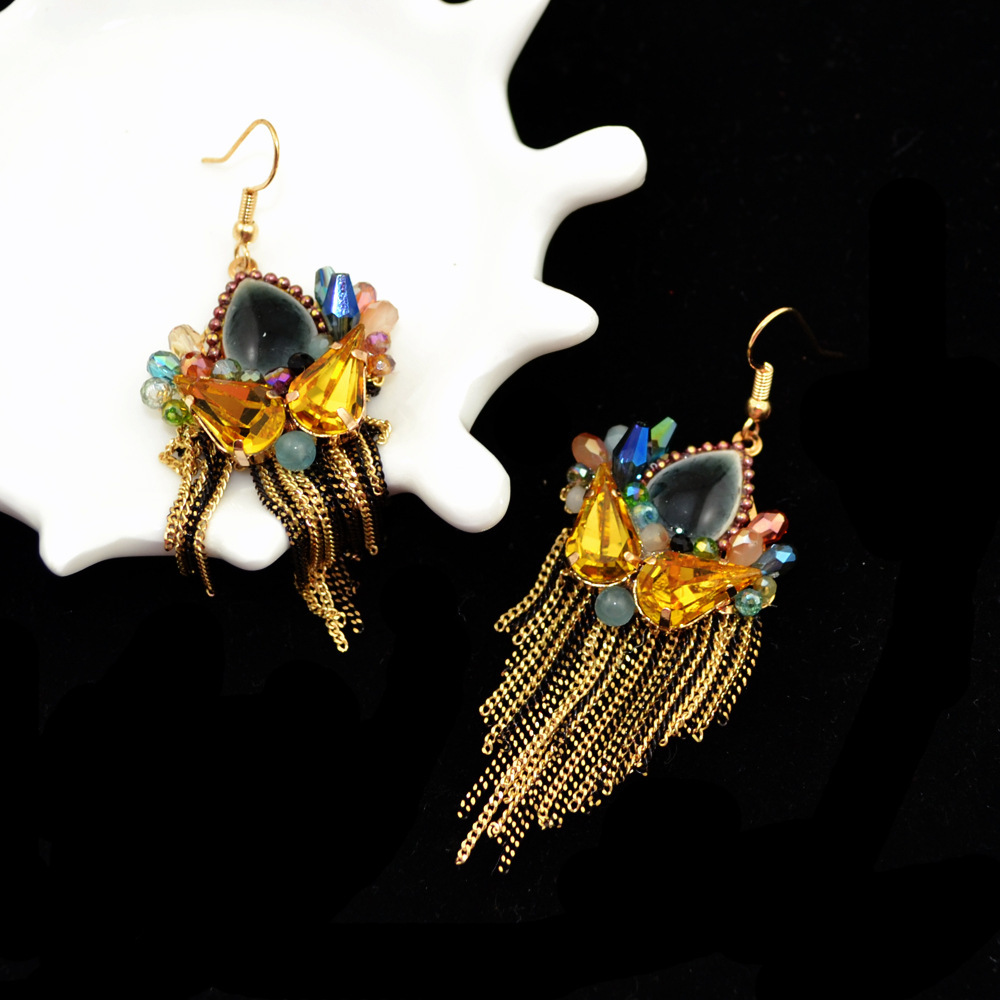 Bohemia Vintage Jewelry Handmade Beads Tassels Leaf Long Fashion Drop Earrings