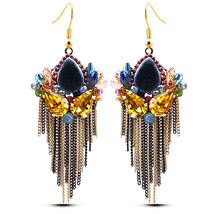 Bohemia Vintage Jewelry Handmade Beads Tassels Leaf Long Fashion Drop Ea... - $20.68
