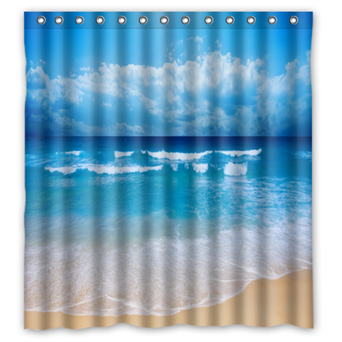 Wave Beach Sand Summer #01 Shower Curtain Waterproof Made From Polyester - $31.26 - $48.30