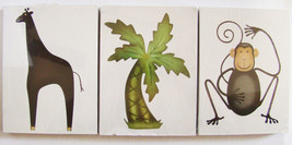 Safari Wooden Wall Plaques ~ Set of Three (3) ~ NEW ~ Monkey, Giraffe, P... - $17.41
