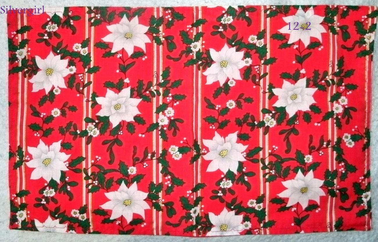 Set of 3 Table Setting Pads Red Christmas White Poinsettia Green Gold - $7.99