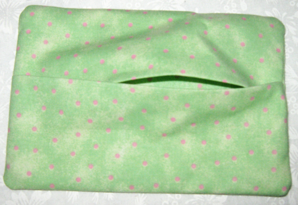 Purse Size Travel Tissue Holder Multi color green with pink flowers