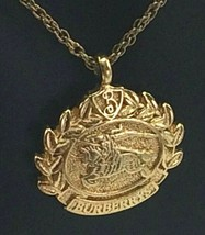 VINTAGE BURBERRY OF LONDON GOLD PLATED KNIGHT AND HORSE LOGO NECKLACE - $32.58
