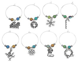 Christmas Wine Glass Charm Tags Pendant Set of 8 Different With Hematite... - $14.96