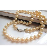Vintage Luminous Cream Ivory Glass Pearl Sterli... - $14.84