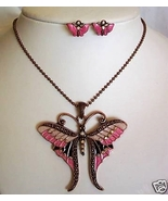 Butterfly Necklace Set Pierced Bronze Enamel Rhinestone  - $4.50