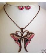 Butterfly Necklace Set Pierced Bronze Enamel Rh... - $4.50