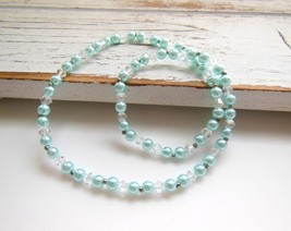 Baby Aqua Blue Glass Clear Crystal Silver Tone Bead Stretch Choker Neckl... - $8.99