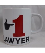 1 LAWYER Coffee Cup Mug red black white, Hand pointing to 1 - $19.98