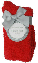 Charter Club Fuzzy Butter Socks Women's Super Soft Red Size 9-11 NEW w Tag Bow