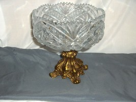 Vintage Cut Glass Crystal Compote Brass STand Saw Tooth Edge Stars NICE - $74.25