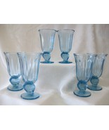 Fostoria Captiva Blue Glass Goblets With Seashell Stems - Set of 6  - $54.00