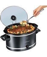 8 Quart Slow Cooker Crock Pot Extra Large Oval Electric Black - £43.93 GBP