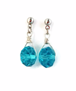 Sapphire Blue Simple Earrings with Crystal Beads - $6.90 - $8.90