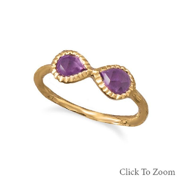 14 Karat Gold Plated Sterling Silver Amethyst Infinity Ring
