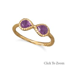 14 Karat Gold Plated Sterling Silver Amethyst Infinity Ring - £65.72 GBP