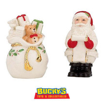 Lenox Santa Checking it Twice Salt & Pepper Shakers Set Christmas Holida... - $21.73