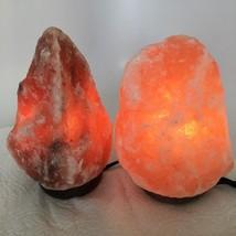 """2x Himalaya Natural Handcraft Rough Raw Crystal Salt Lamp, 7.25""""-7.75"""" T... - $29.69"""