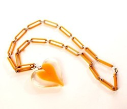 Orange Heart Necklace Plastic Link Chain Large Pendant Novelty Vintage J... - $64.35