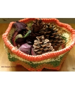 Green, Tan, Orange Handmade Basket - Home Decor... - $20.00