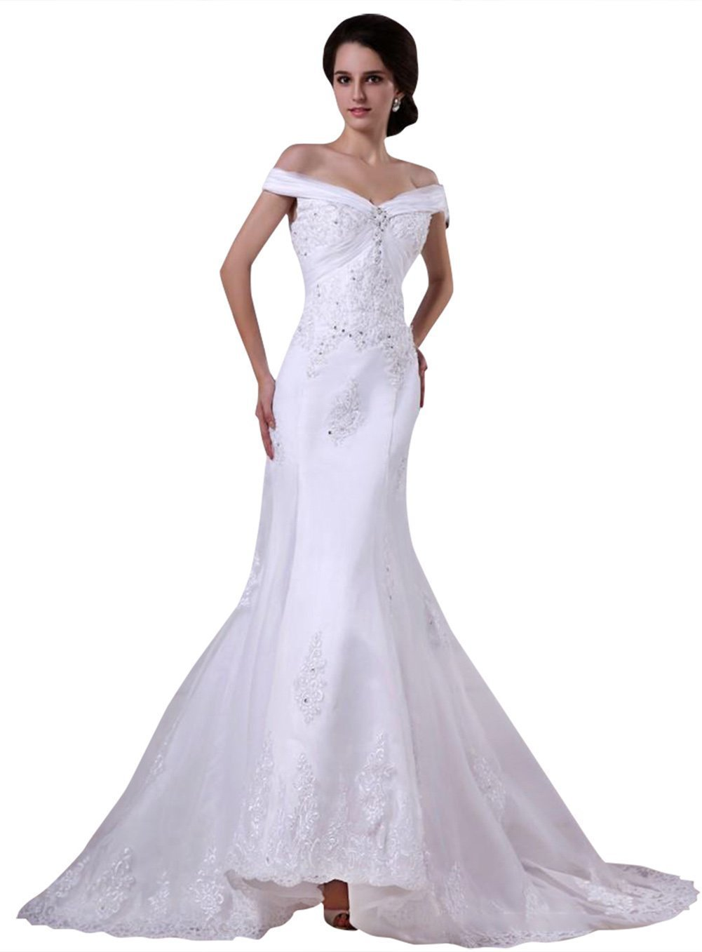 listing shoulder white lace wedding dress dcead