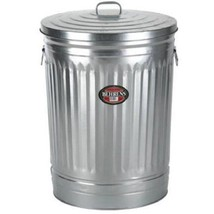 Commercial Trash Can With Lid 31 Gallon Metal Garbage Outdoor Pet Food S... - $74.98