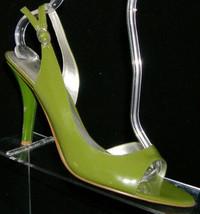 Nine West 'Jonnio' green man made peep toe buckle slingback heel 9M - $21.01