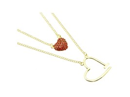 Crystal Stone Paved Double Stranded Red Heart Necklace - $12.95
