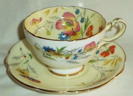 Star Paragon Cup & Saucer Summer Time White Cream Floral Butterfly Gold 1923-33 - $136.71