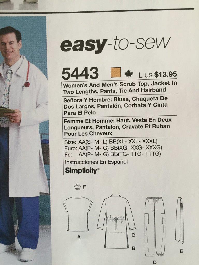 5062ea3eda9 Simplicity Sewing Pattern 5443 Misses Mens Scrub Tops Pants Size XL-XXXL New
