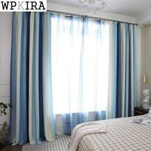blue high shading modern style solid color faux plain linen Blackout cur... - $31.02