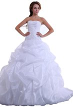 Albizia Strapless Satin Organza Ruffle Beading Wedding Dress(14,White) - $188.00
