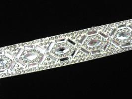 "Rhinestone Choker Necklace Clear Flat Stones Cream Suede Back Goldtone 16"" - $14.99"