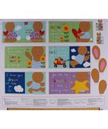 "35.25"" X 44"" Panel Soft Book Bunny Rabbit Kids Children Cotton Fabric D475.32 - $11.70"