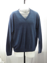 Geoffrey Beene 100% Acrylic Solid Blue V-Neck Pullover Sweater Sz: L - $19.99