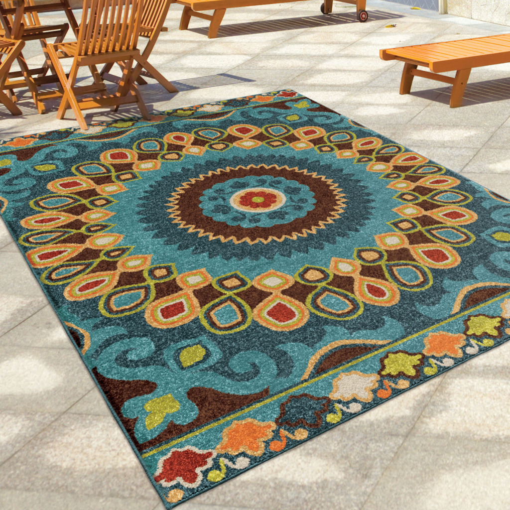 Indoor outdoor area rug decor rectangle entry patio dining for Patio carpets outdoor carpets